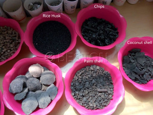 Charcoal from different biomass matterials